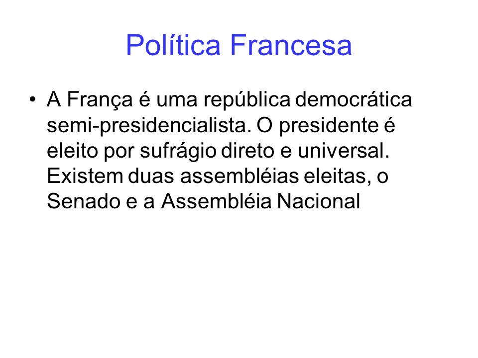 Política Francesa A França é uma república democrática semi-presidencialista. O presidente é eleito por sufrágio direto e universal. Existem duas asse
