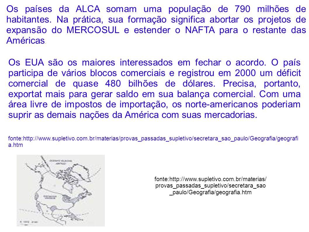 Os países da ALCA somam uma população de 790 milhões de habitantes. Na prática, sua formação significa abortar os projetos de expansão do MERCOSUL e e