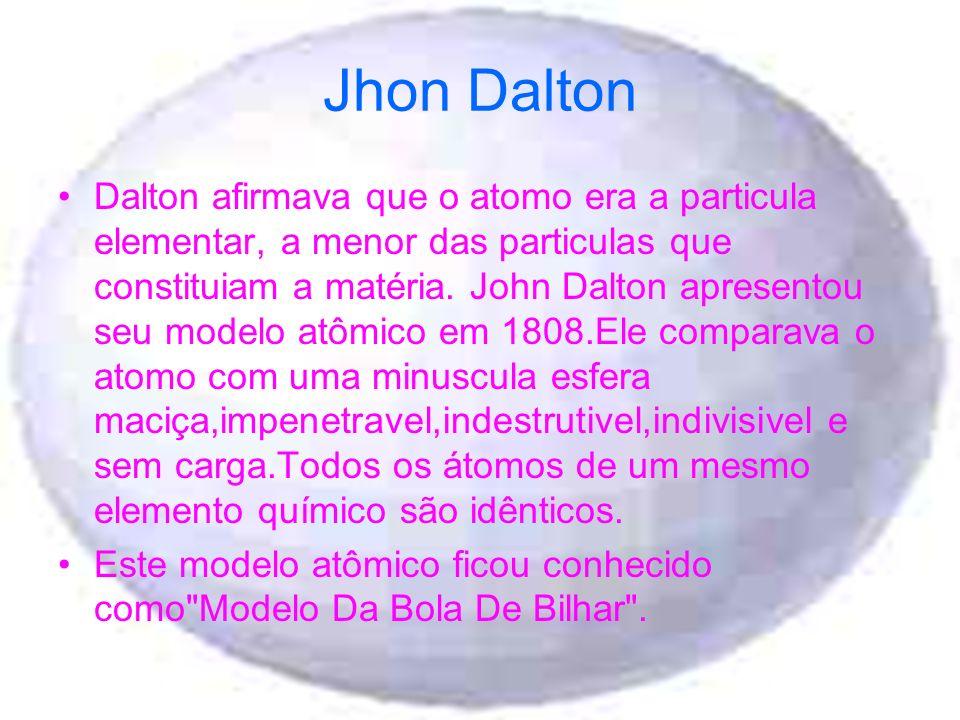 Jhon Dalton Dalton afirmava que o atomo era a particula elementar, a menor das particulas que constituiam a matéria. John Dalton apresentou seu modelo