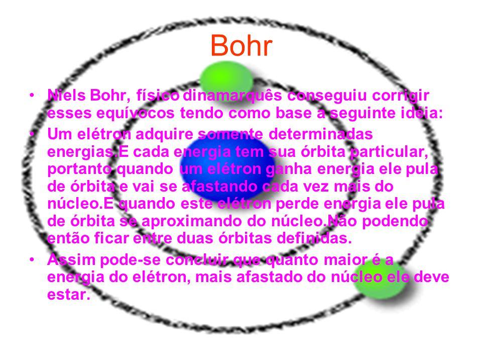 Bohr Niels Bohr, físico dinamarquês conseguiu corrigir esses equívocos tendo como base a seguinte idéia: Um elétron adquire somente determinadas energ