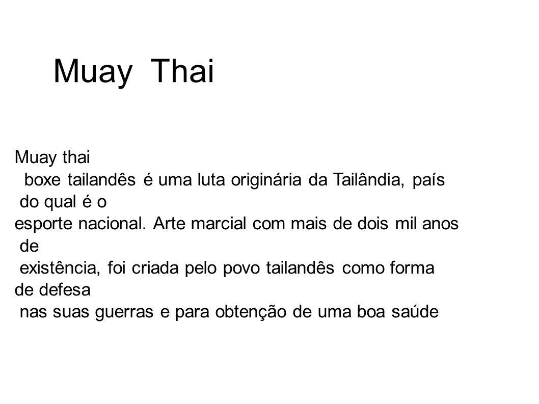 Muay Thai Muay thai boxe tailandês é uma luta originária da Tailândia, país do qual é o esporte nacional. Arte marcial com mais de dois mil anos de ex