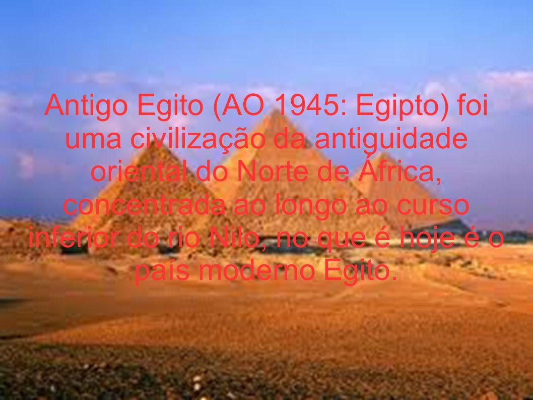 Egito A civilização egípcia se aglutinou em torno de 3150 a.C.[3] com a unificação política do Alto e Baixo Egito, sob o primeiro faraó, e se desenvolveu ao longo dos três milênios.[