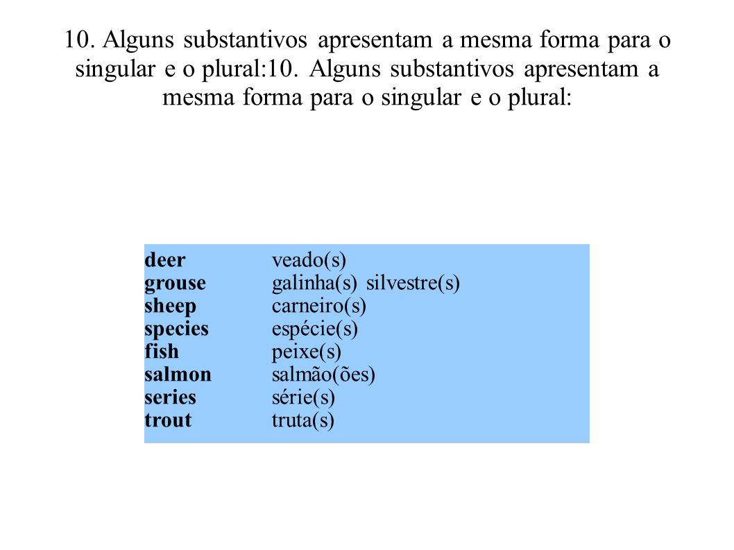 10. Alguns substantivos apresentam a mesma forma para o singular e o plural:10. Alguns substantivos apresentam a mesma forma para o singular e o plura