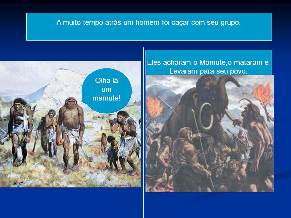 A muito tempo atrás um homem foi caçar com seu grupo. Olha lá um mamute! Eles acharam o Mamute,o mataram e Levaram para seu povo.