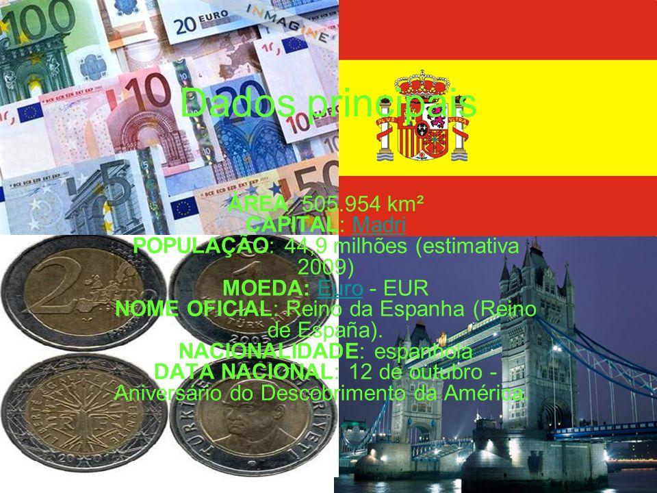 Dados principais ÁREA: 505.954 km² CAPITAL: Madri POPULAÇÃO: 44,9 milhões (estimativa 2009) MOEDA: Euro - EUR NOME OFICIAL: Reino da Espanha (Reino de