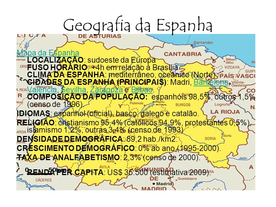 Geografia da Espanha Mapa da Espanha Mapa da Espanha LOCALIZAÇÃO: sudoeste da Europa FUSO HORÁRIO: +4h em relação à Brasília CLIMA DA ESPANHA: mediter