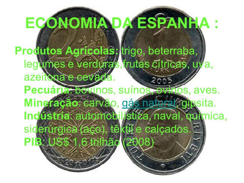ECONOMIA DA ESPANHA : Produtos Agrícolas: trigo, beterraba, legumes e verduras,frutas cítricas, uva, azeitona e cevada. Pecuária: bovinos, suínos, ovi