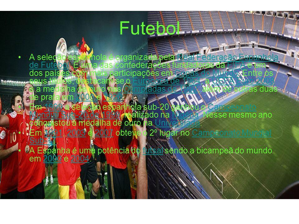 Futebol A seleção espanhola é organizada pela Real Federação Espanhola de Futebol. É uma das confederações fundadoras da FIFA e um dos países com mais