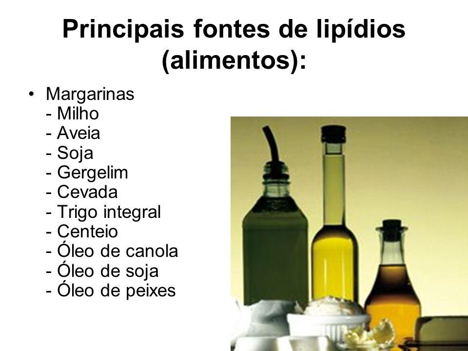 Principais fontes de lipídios (alimentos): Margarinas - Milho - Aveia - Soja - Gergelim - Cevada - Trigo integral - Centeio - Óleo de canola - Óleo de
