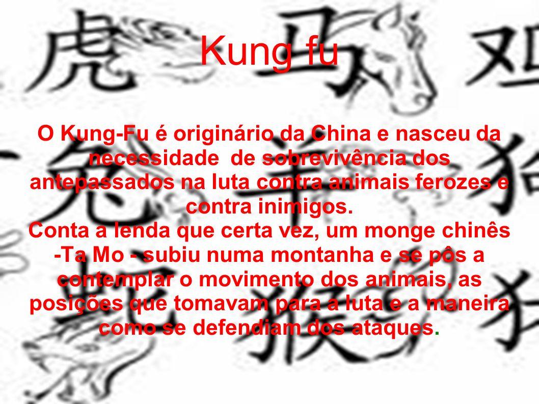 Kung fu O Kung-Fu é originário da China e nasceu da necessidade de sobrevivência dos antepassados na luta contra animais ferozes e contra inimigos. Co