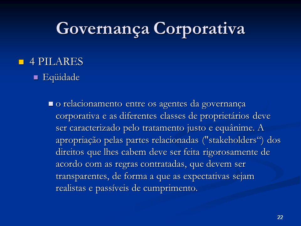 22 Governança Corporativa 4 PILARES 4 PILARES Eqüidade Eqüidade o relacionamento entre os agentes da governança corporativa e as diferentes classes de proprietários deve ser caracterizado pelo tratamento justo e equânime.