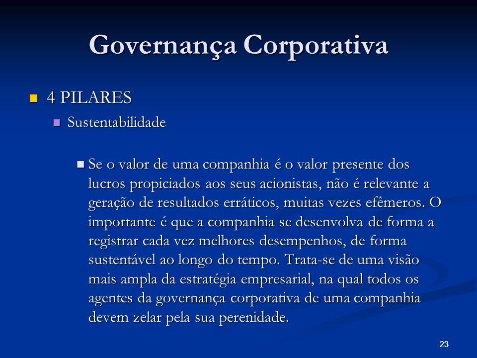 23 Governança Corporativa 4 PILARES 4 PILARES Sustentabilidade Sustentabilidade Se o valor de uma companhia é o valor presente dos lucros propiciados aos seus acionistas, não é relevante a geração de resultados erráticos, muitas vezes efêmeros.