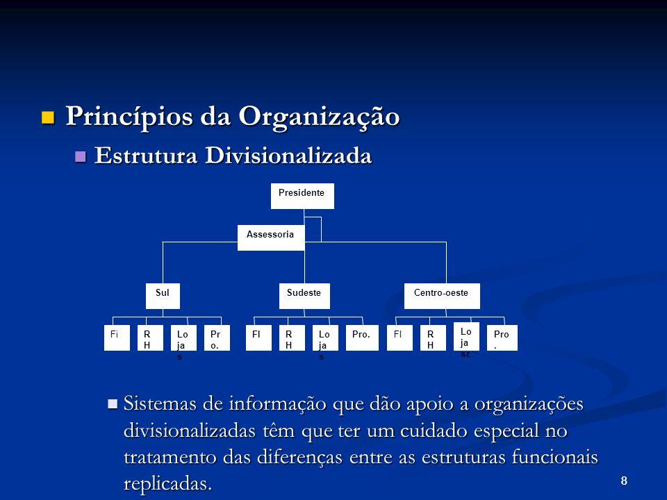 88 Princípios da Organização Princípios da Organização Estrutura Divisionalizada Estrutura Divisionalizada Sistemas de informação que dão apoio a organizações divisionalizadas têm que ter um cuidado especial no tratamento das diferenças entre as estruturas funcionais replicadas.
