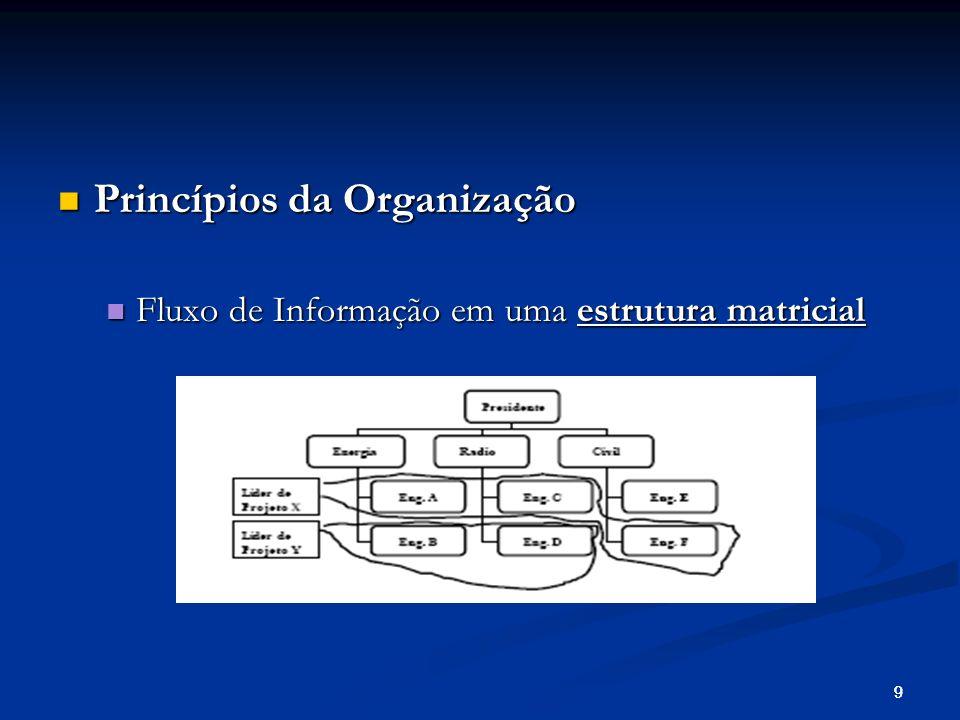10 Princípios da Organização Princípios da Organização Fluxo de Informação em uma estrutura em rede Fluxo de Informação em uma estrutura em rede Sua implementação é mais difícil porque tem que ser geral o suficiente para atender todo um grupo e ser particular o suficiente para dar apoio ao trabalho de cada indivíduo.