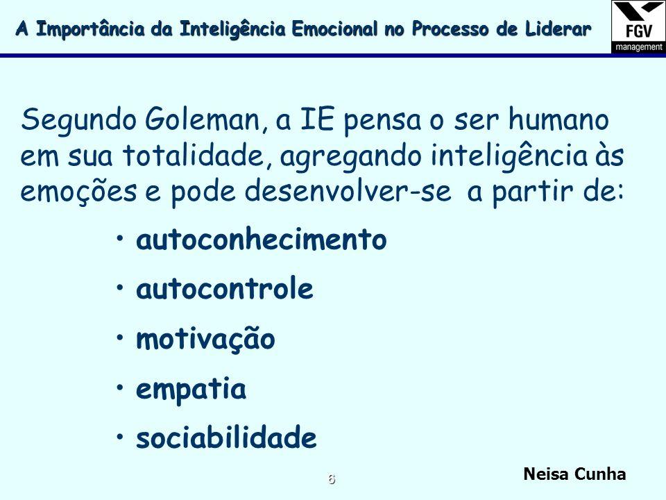 Neisa Cunha 5 O coeficiente de inteligência (QI) e os conhecimentos teóricos são importantes, mas a inteligência emocional é condição primordial para