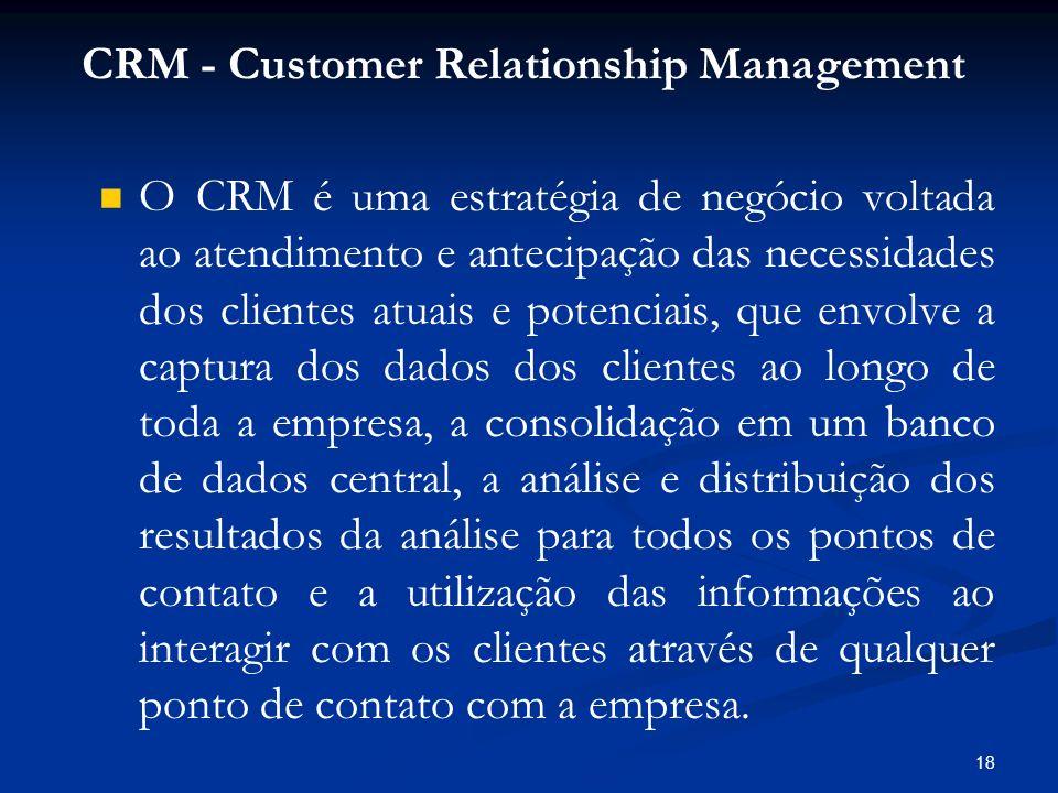 18 O CRM é uma estratégia de negócio voltada ao atendimento e antecipação das necessidades dos clientes atuais e potenciais, que envolve a captura dos