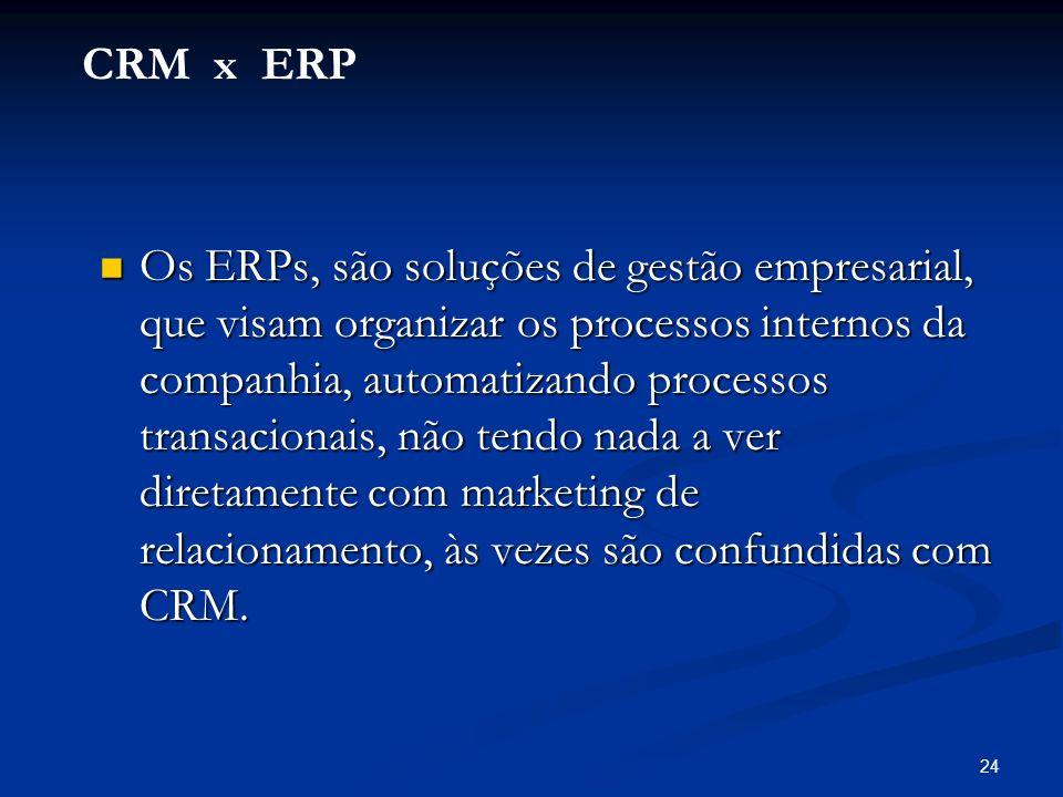 24 Os ERPs, são soluções de gestão empresarial, que visam organizar os processos internos da companhia, automatizando processos transacionais, não ten
