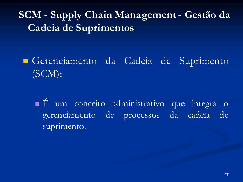 27 Gerenciamento da Cadeia de Suprimento (SCM): É um conceito administrativo que integra o gerenciamento de processos da cadeia de suprimento. SCM - S