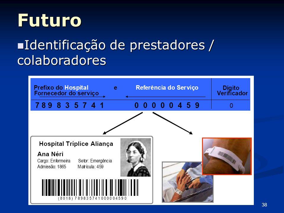 38 Futuro Identificação de prestadores / colaboradores Identificação de prestadores / colaboradores