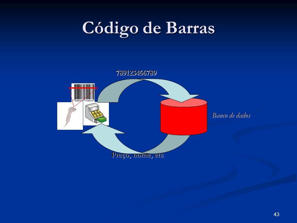 43 Código de Barras Banco de dados 789123456789 Preço, nome, etc