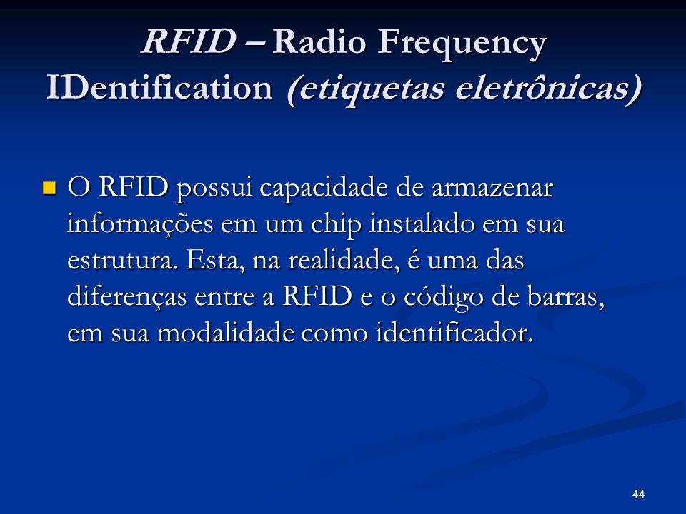 44 RFID – Radio Frequency IDentification (etiquetas eletrônicas) O RFID possui capacidade de armazenar informações em um chip instalado em sua estrutu