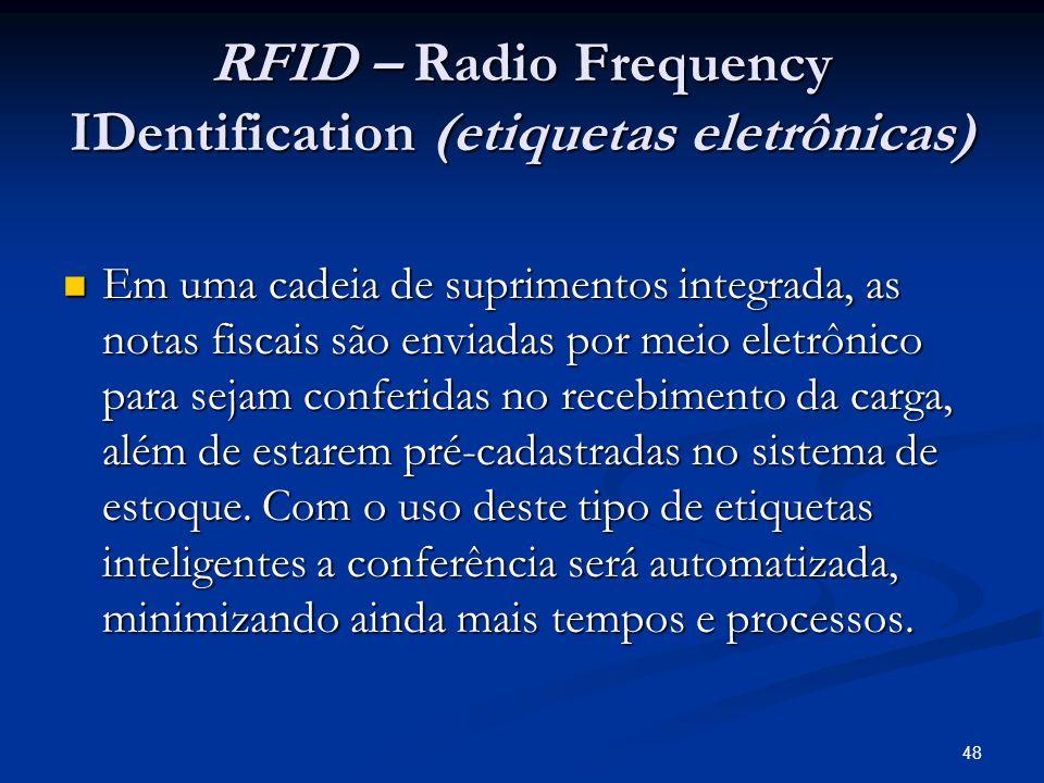 48 RFID – Radio Frequency IDentification (etiquetas eletrônicas) Em uma cadeia de suprimentos integrada, as notas fiscais são enviadas por meio eletrô