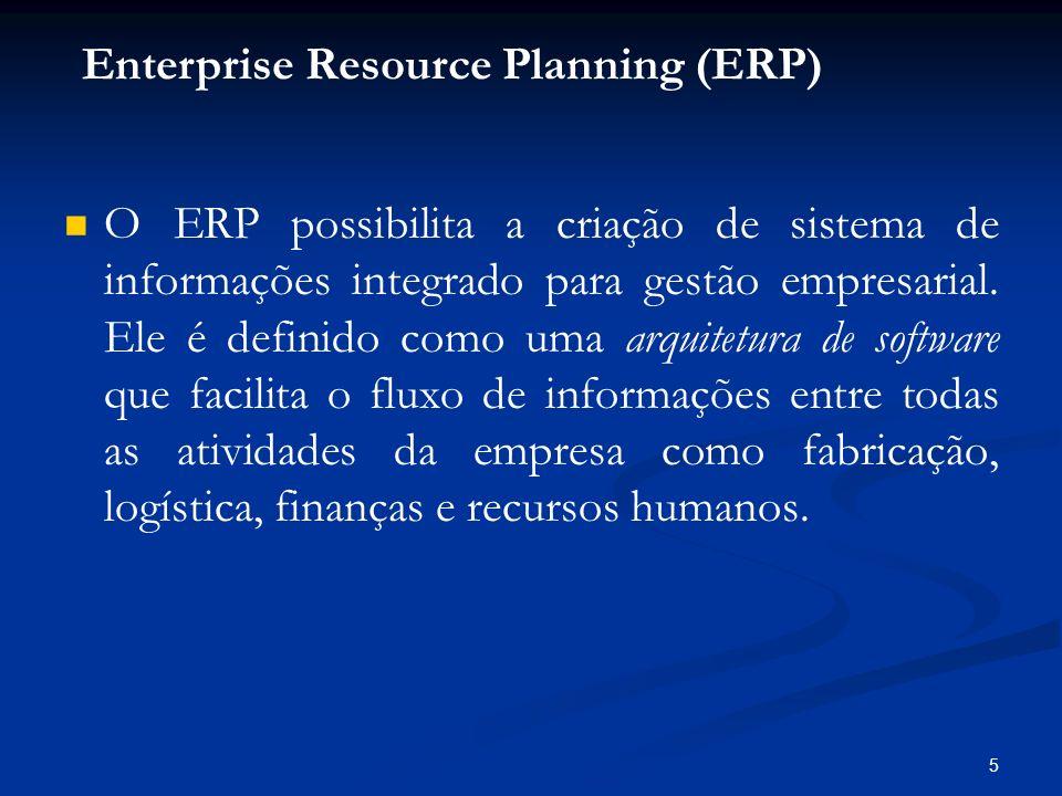 5 O ERP possibilita a criação de sistema de informações integrado para gestão empresarial. Ele é definido como uma arquitetura de software que facilit