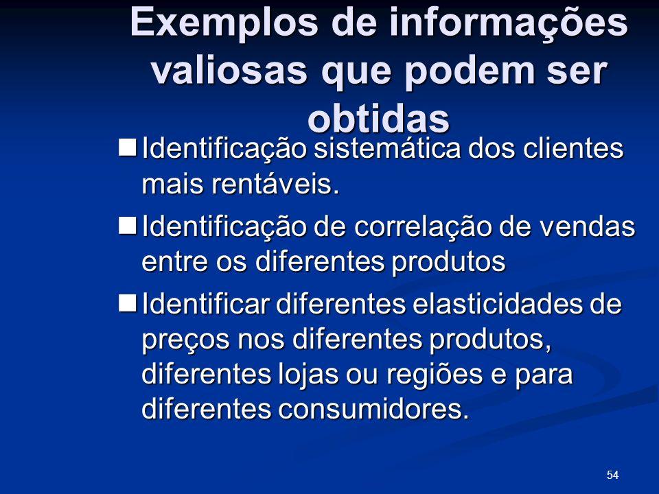 54 Exemplos de informações valiosas que podem ser obtidas Identificação sistemática dos clientes mais rentáveis. Identificação sistemática dos cliente