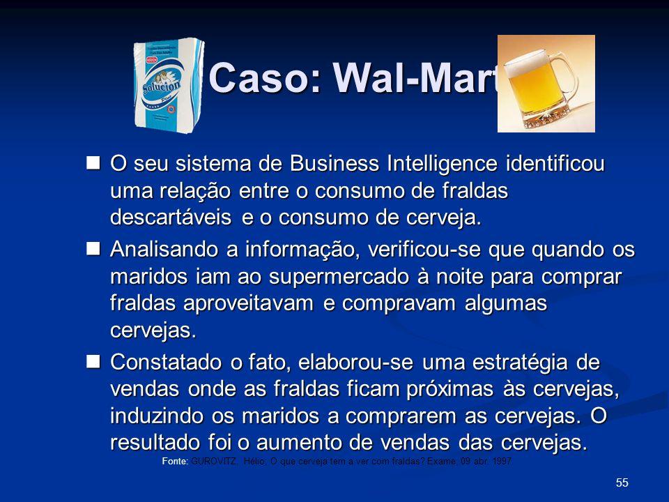 55 Caso: Wal-Mart O seu sistema de Business Intelligence identificou uma relação entre o consumo de fraldas descartáveis e o consumo de cerveja. O seu