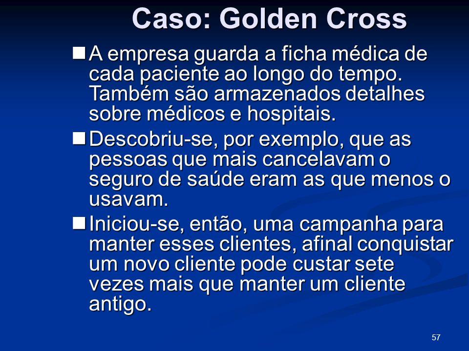 57 Caso: Golden Cross A empresa guarda a ficha médica de cada paciente ao longo do tempo. Também são armazenados detalhes sobre médicos e hospitais. A