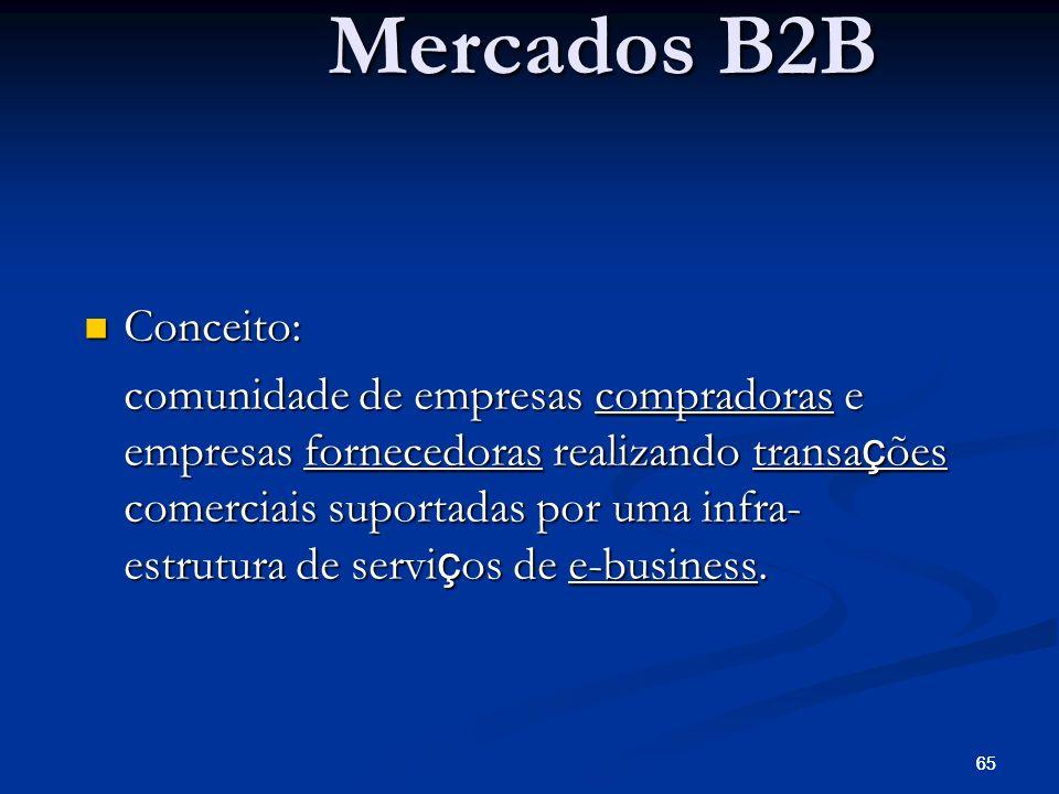 65 Mercados B2B Conceito: Conceito: comunidade de empresas compradoras e empresas fornecedoras realizando transa ç ões comerciais suportadas por uma i