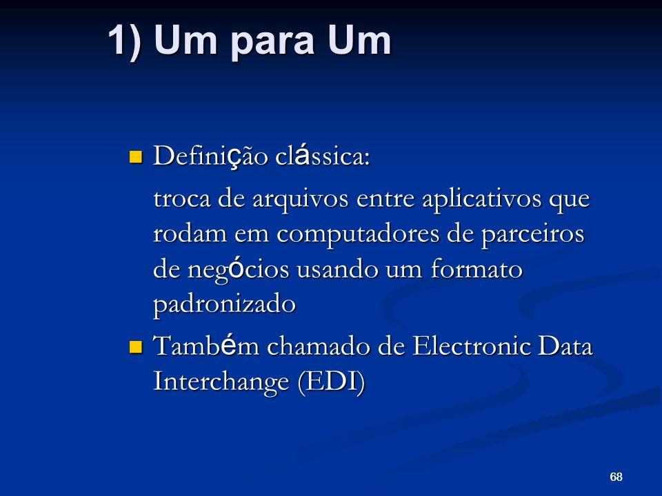 68 Defini ç ão cl á ssica: Defini ç ão cl á ssica: troca de arquivos entre aplicativos que rodam em computadores de parceiros de neg ó cios usando um