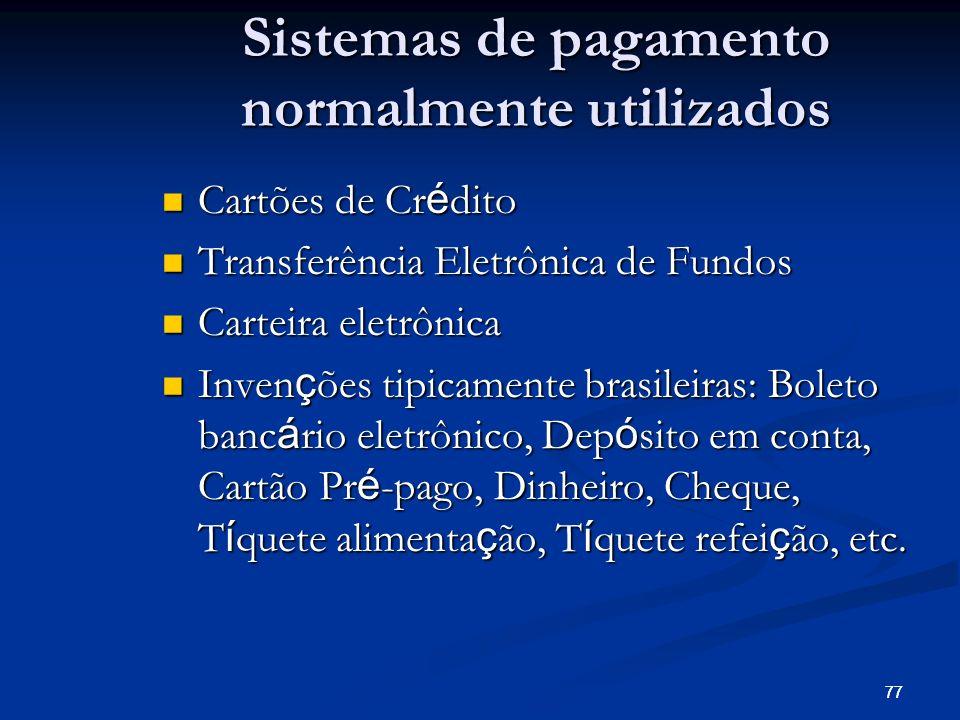 77 Sistemas de pagamento normalmente utilizados Cartões de Cr é dito Cartões de Cr é dito Transferência Eletrônica de Fundos Transferência Eletrônica