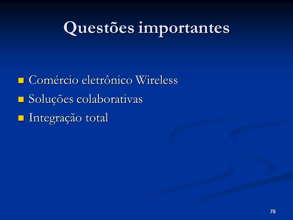 78 Questões importantes Comércio eletrônico Wireless Comércio eletrônico Wireless Soluções colaborativas Soluções colaborativas Integração total Integ
