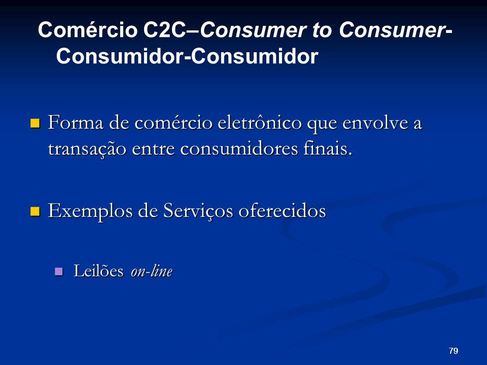 79 Forma de comércio eletrônico que envolve a transação entre consumidores finais. Forma de comércio eletrônico que envolve a transação entre consumid