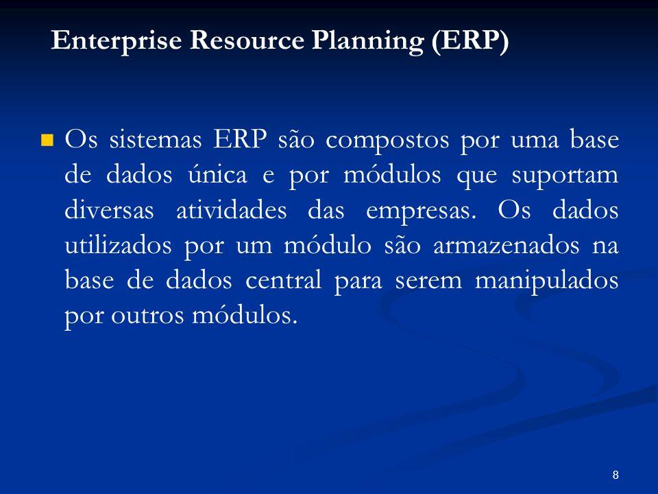 8 Os sistemas ERP são compostos por uma base de dados única e por módulos que suportam diversas atividades das empresas. Os dados utilizados por um mó