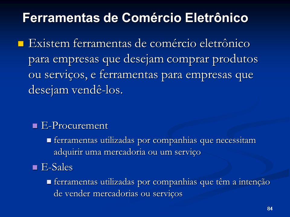 84 Existem ferramentas de comércio eletrônico para empresas que desejam comprar produtos ou serviços, e ferramentas para empresas que desejam vendê-lo