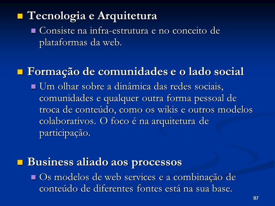 87 Tecnologia e Arquitetura Tecnologia e Arquitetura Consiste na infra-estrutura e no conceito de plataformas da web. Consiste na infra-estrutura e no