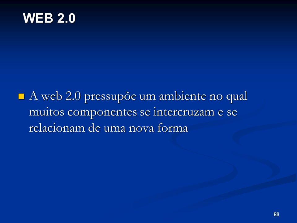 88 A web 2.0 pressupõe um ambiente no qual muitos componentes se intercruzam e se relacionam de uma nova forma A web 2.0 pressupõe um ambiente no qual