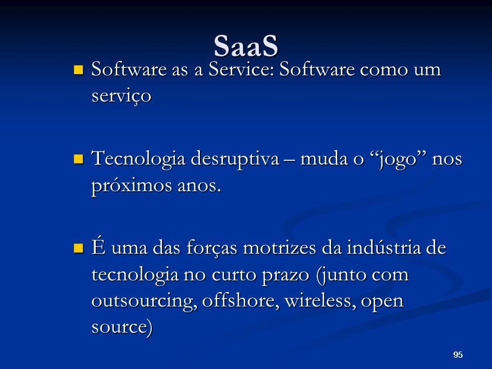 95 SaaS Software as a Service: Software como um serviço Software as a Service: Software como um serviço Tecnologia desruptiva – muda o jogo nos próxim