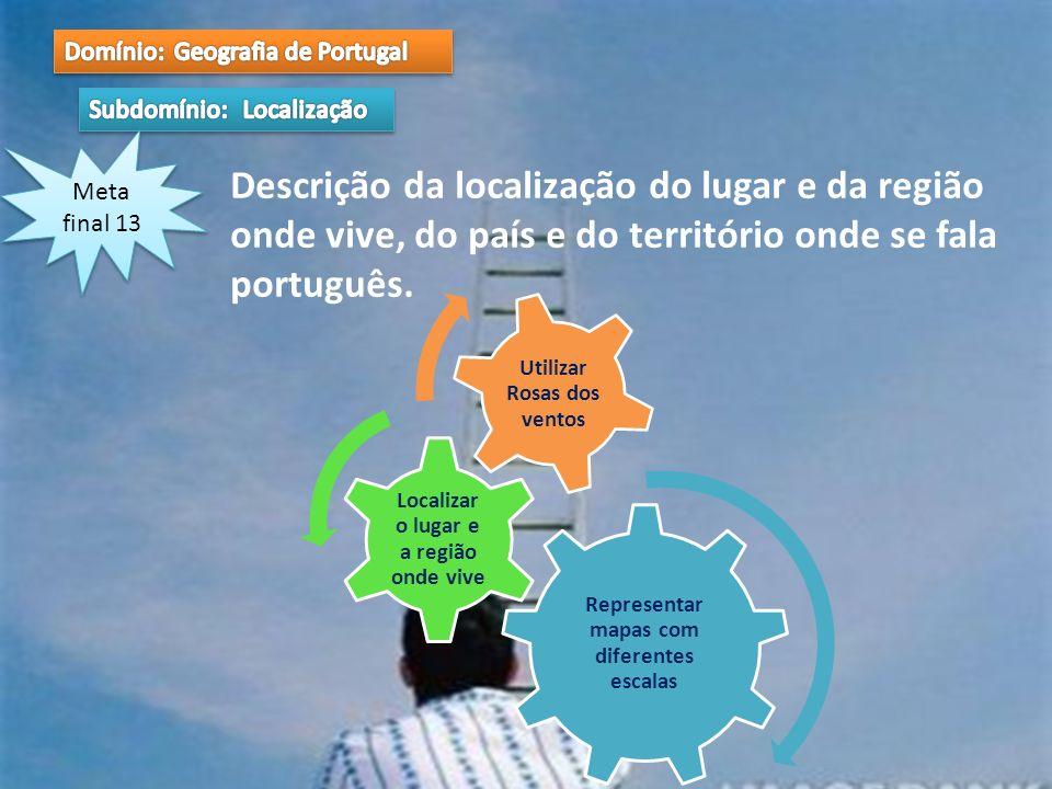 Meta final 13 Descrição da localização do lugar e da região onde vive, do país e do território onde se fala português. Representar mapas com diferente