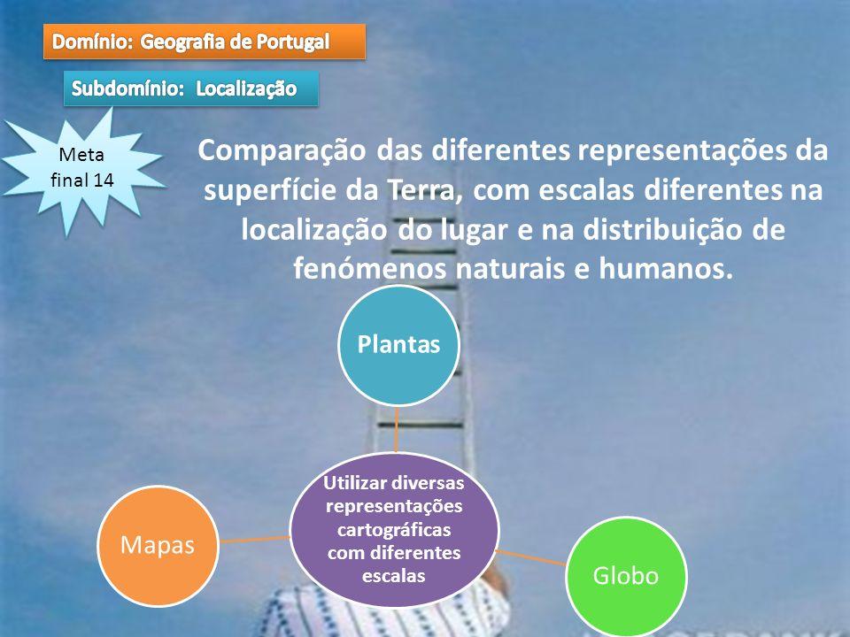 Meta final 14 Comparação das diferentes representações da superfície da Terra, com escalas diferentes na localização do lugar e na distribuição de fen