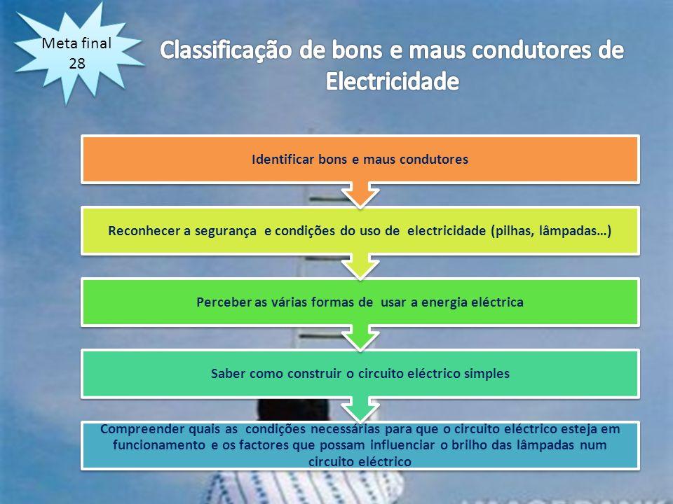Meta final 28 Compreender quais as condições necessárias para que o circuito eléctrico esteja em funcionamento e os factores que possam influenciar o