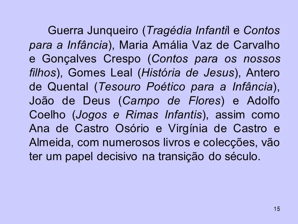 15 Guerra Junqueiro (Tragédia Infantil e Contos para a Infância), Maria Amália Vaz de Carvalho e Gonçalves Crespo (Contos para os nossos filhos), Gome