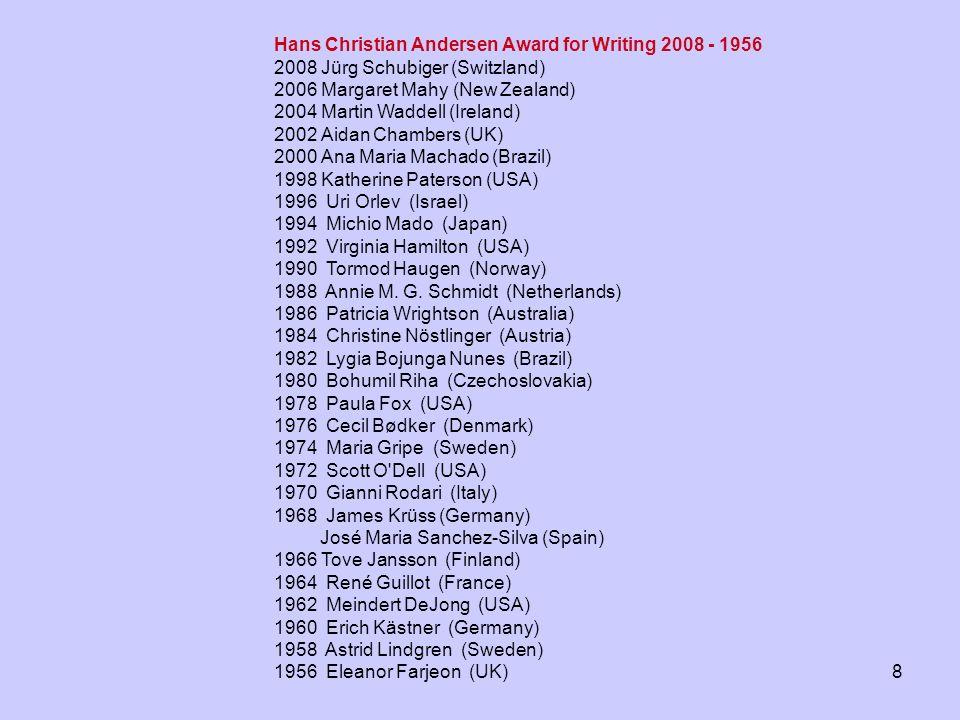 8 Hans Christian Andersen Award for Writing 2008 - 1956 2008 Jürg Schubiger (Switzland) 2006 Margaret Mahy (New Zealand) 2004 Martin Waddell (Ireland)