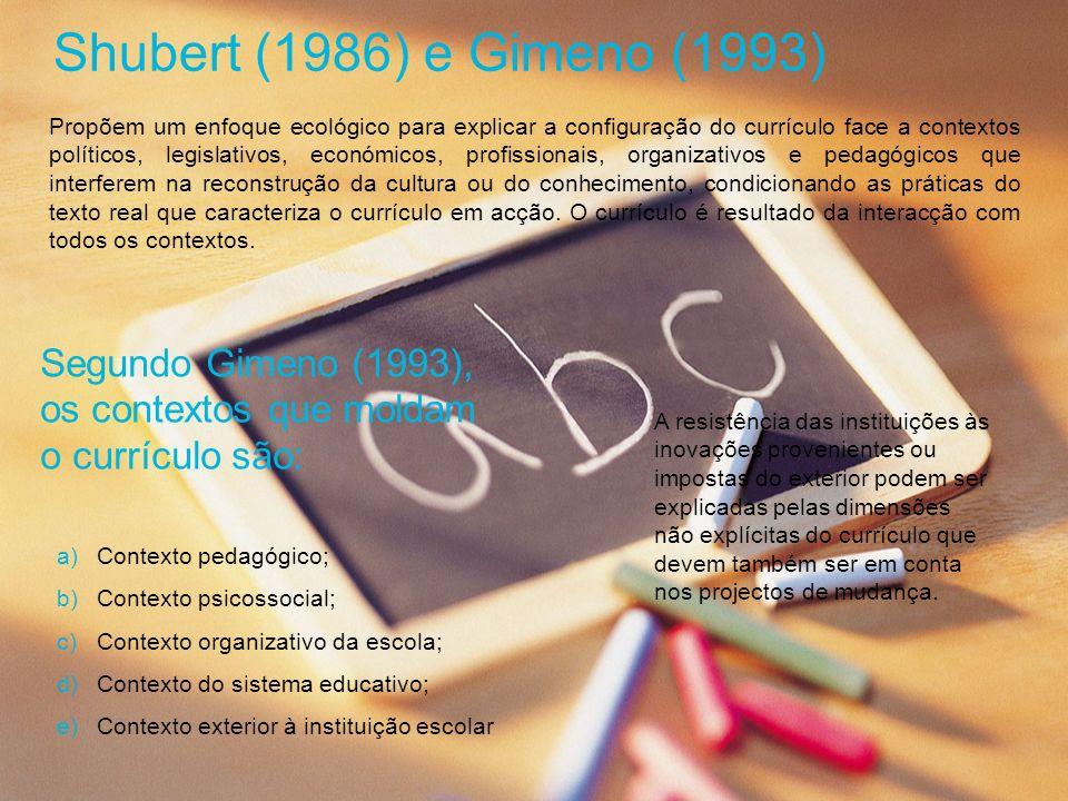 Shubert (1986) e Gimeno (1993) Propõem um enfoque ecológico para explicar a configuração do currículo face a contextos políticos, legislativos, económ