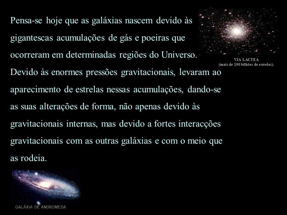 GALÁXIA DE ANDROMEDA VIA LACTEA (mais de 100 bilhões de estrelas). Pensa-se hoje que as galáxias nascem devido às gigantescas acumulações de gás e poe