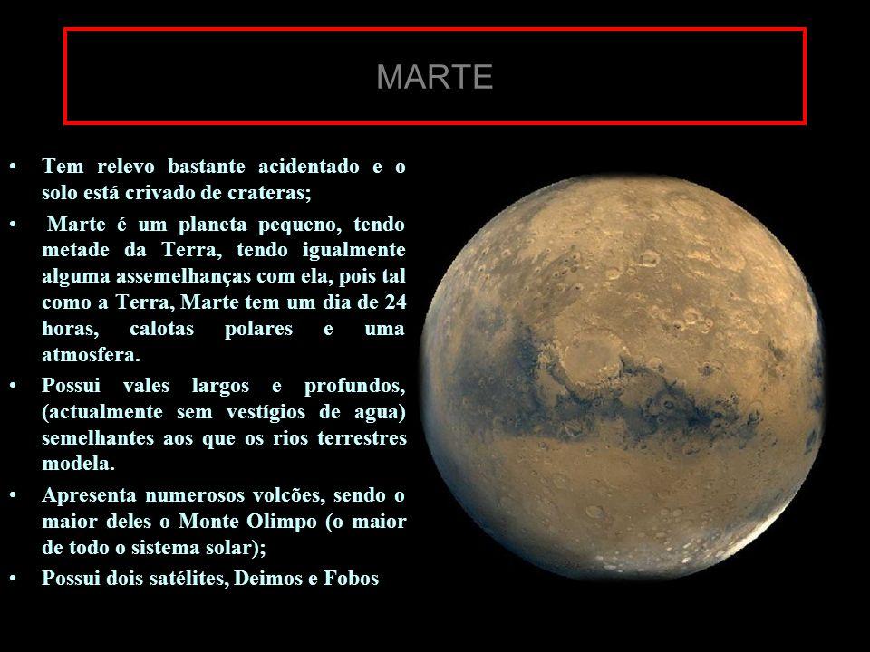 MARTE Tem relevo bastante acidentado e o solo está crivado de crateras; Marte é um planeta pequeno, tendo metade da Terra, tendo igualmente alguma ass