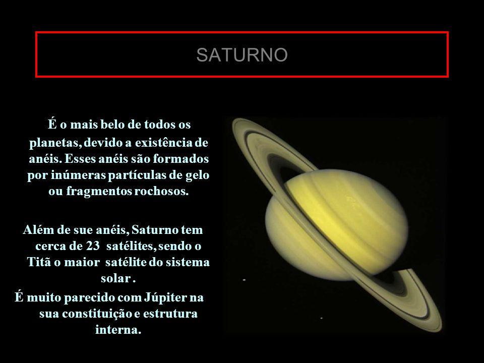 SATURNO É o mais belo de todos os planetas, devido a existência de anéis. Esses anéis são formados por inúmeras partículas de gelo ou fragmentos rocho