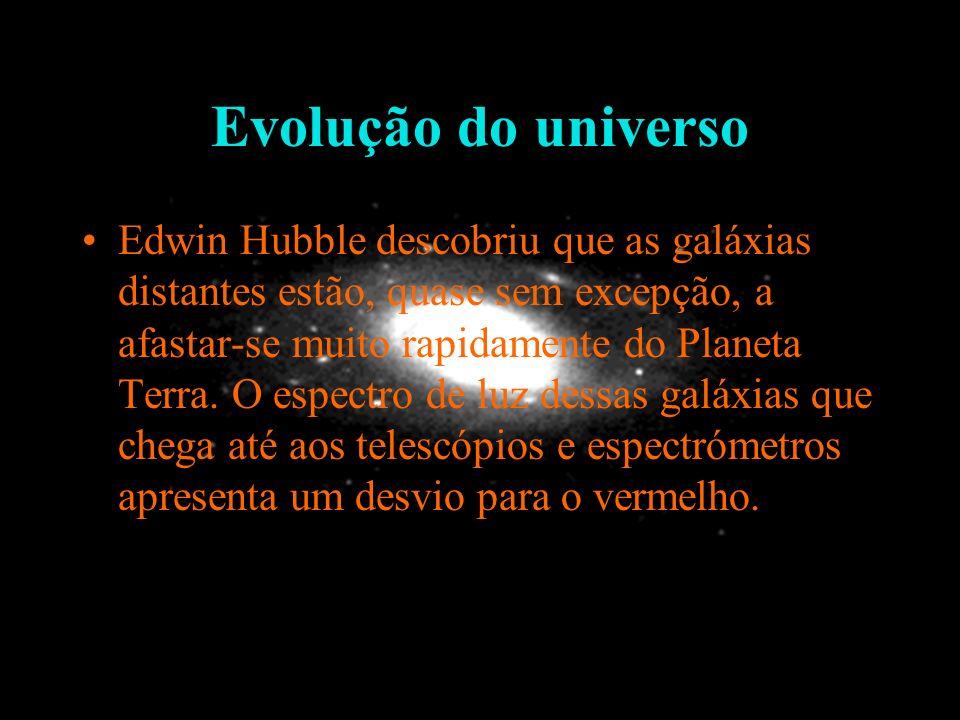 Evolução do universo Edwin Hubble descobriu que as galáxias distantes estão, quase sem excepção, a afastar-se muito rapidamente do Planeta Terra. O es